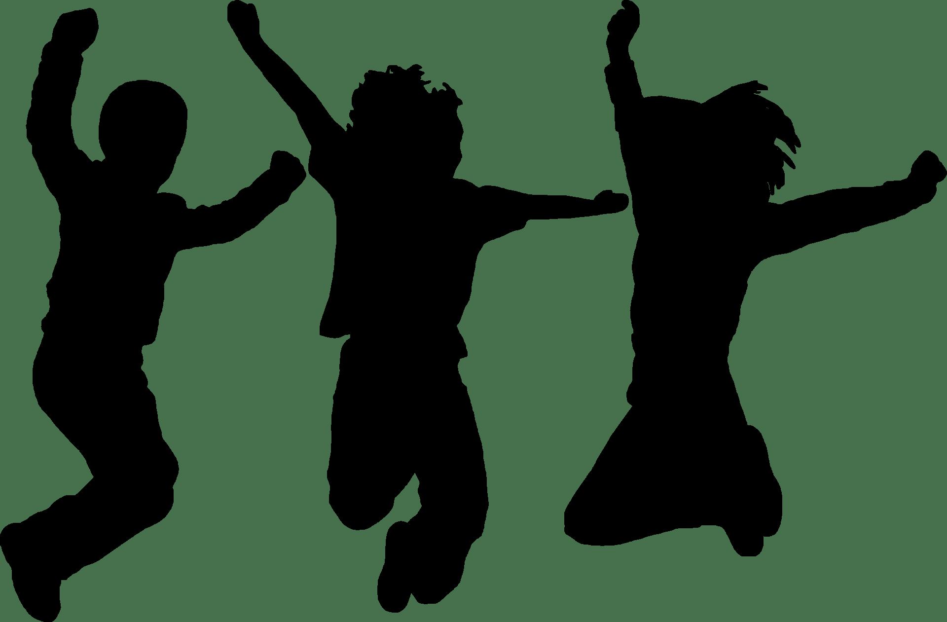 silhouette, dancing, jumping